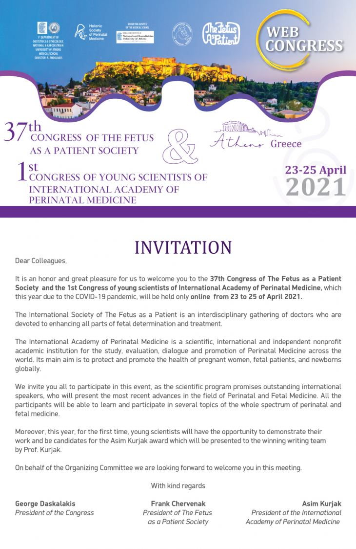 Preliminary Program | 37th Congress of The Fetus as a Patient Society & 1st Congress of young scientists of International Academy of Perinatal Medicine | 23-25/4/21